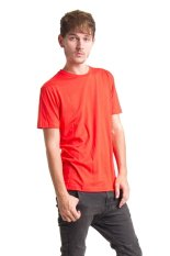 Paxta Kaos Polos Lengan Pendek Basic Crew Neck Orange Men - Orange