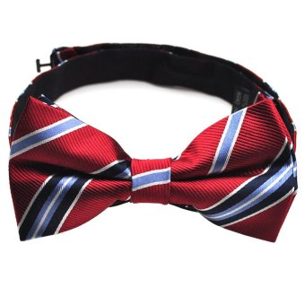 PenSee 100% Silk Mens Bow Tie Red & Navy & Blue & Grey Stripe Bow Ties