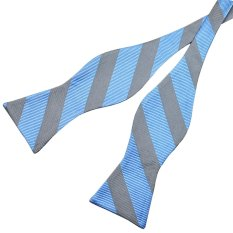 PenSee 100% Silk Mens Self Bow Tie Blue & Grey Stripe Bow Ties (Intl)