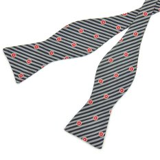 PenSee 100% Silk Mens Self Bow Tie Silver-Grey Black Stripe & Red Flower Bow Ties (Intl)