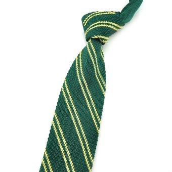 "PenSee Casual Mens Dark Green & Gold Stripe Slim 2.16"" Skinny Knit Tie"