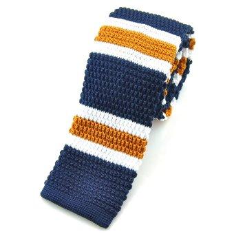 "PenSee Casual Mens Navy & Gold & White Stripe Slim 2.16"" Skinny Knit Tie"