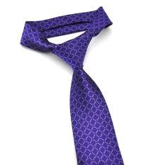 PenSee Mens Fashion Tie Silk Plaid & Checks Neckties -Various Colors (Purple)