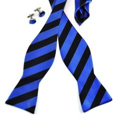 PenSee Mens Jacquard Woven Silk Black Blue Striped Fashion Bow Tie Self Tie Bow Tie Set Hanky & Cufflinks
