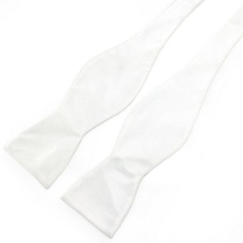 PenSee Mens Self Bow Tie White Solid Jacquard Woven Silk Bow Ties