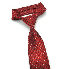 PenSee Mens Tie Jacquard Woven Silk Geometric Plaids Necktie -Various Color (Red)