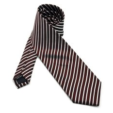 PenSee Mens Tie Jacquard Woven Silk Stripes Wave Necktie -Various Colors (Bordeaux & White)