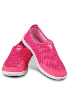 Perempuan Bernapas Jala Lembut Berjalan-Berlari-Lari Sepatu Olahraga Luar Ruangan (Berwarna Merah