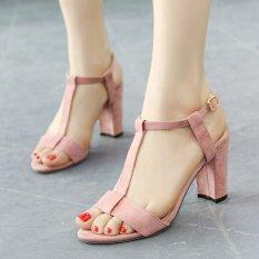 Perempuan buka kaki persegi kulit hak sandal korea dengan t-tali pengikat Berwarna Merah Muda