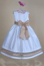 Peringkat atas bayi perempuan anak Princess tanpa lengan gaun komuni yang elegan gaun pesta gaun pengantin pembaptisan (coklat)