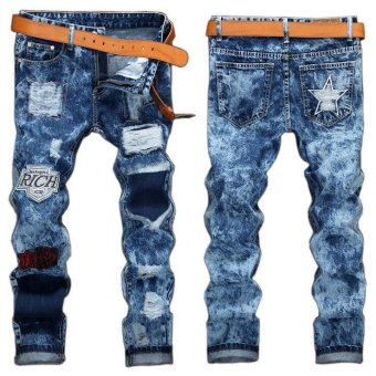 ... Personality popular clothing style hole patch jeans fashion men straight beggar trousers Blue intl
