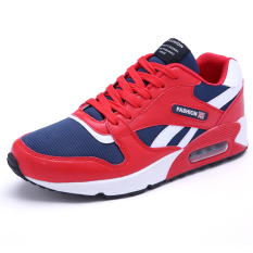 PF X16801R Men's Popular Colors Mixed And Leather Stitching Fashion Sneakers (Red) - Intl