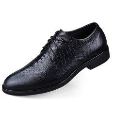 PINSV Genuine Leather Formal Shoes Oxfords Business Shoes Big Size 36-46 (Black) - Intl