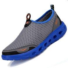 pinsv jala sepatu olahraga pria air untuk bernapas abu