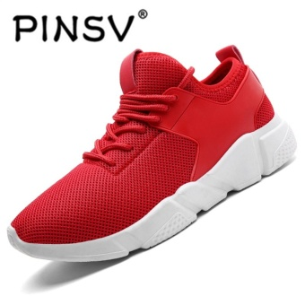 PINSV Men Breathable Casual Shoes Running Shoes-Red - intl