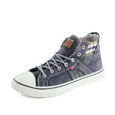PINSV Men Canvas Casual Sneakers High Cut(Grey) (Intl)