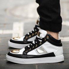 PINSV Men Canvas Fashion Sneakers High Cut (Black White) (Intl)