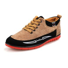 PINSV Men Casual Canvas Sneakers Low Cut(Yellow) (Intl)