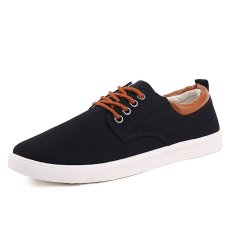 PINSV Men Casual Shoes Canvas Shoes(Black) (Intl)