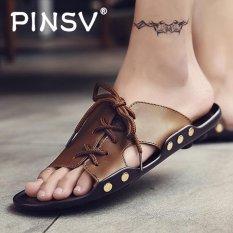PINSV Men Flats Shoes Casual Sandals (Brown) - intl