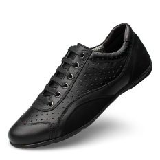 PINSV Men Leather Breathable Casual Business Shoes (Black) - Intl