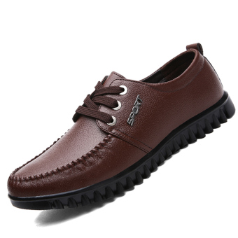 PINSV Synthethic Leather Men's Casual Business Leather Shoes (Brown)
