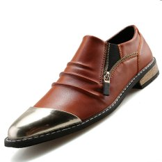 PINSV Synthethic Leather Men's Casual Leather Shoes Formal Shoes (Brown) - INTL
