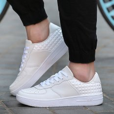 PINSV Synthethic Leather Men's Casual Shoes AIR Fashion Sneakers (White)