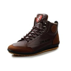 PINSV Synthethic Leather Men's Casual Sneakers Shoes High Cut(Brown) (Intl)