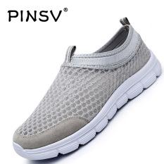 PINSV Men Fashion Low Cut Breathable Mesh Shoes (Grey) (Intl)