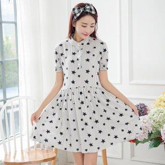 663fdf6d87370 Plaka Maternity Dress Korean Stars Strip Short Sleeved Summer Skirt Stand  Collar for Pregnant Women Light