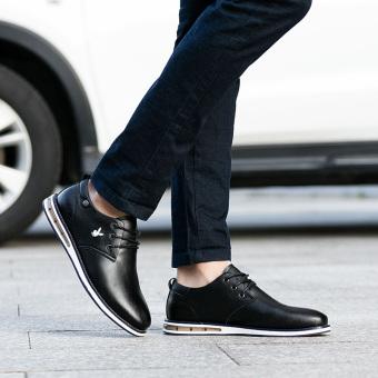 Playboy Sepatu Kulit Pria Mudah Dipakai Santai Model Inggris Hitam ... c1933eddaa