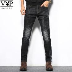 PLAYBOY Korea Fashion Style Pria Muda Kaki Lurus Celana Stretch Celana Jeans Abu-abu Dan