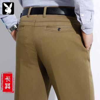 PLAYBOY pria lurus musim gugur dan musim dingin yang tebal celana panjang celana cargo (Khaki