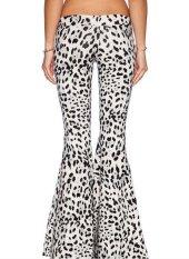 Plus Size XS-2XL New 2015 Retro Low Waist Flared Casual Trousers Women Leopard Pants