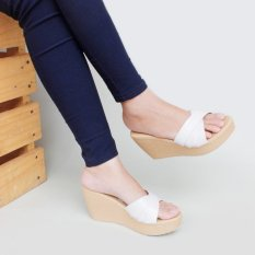 Pluvia MS Wedges Sandal Cross - Putih