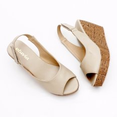 Pluvia Slingback Wedges Sandal MS10 - Cream