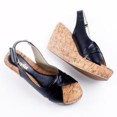 Pluvia Slingback Wedges Sandal MS11 - Hitam