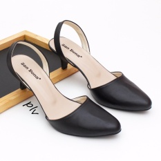 Pointed Toe Slingback Kitten Heels - Hitam