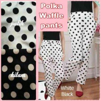 Polka Waffle Pants Warna Hitam