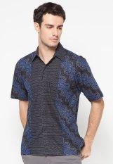 Pomona Batik Kemeja Lengan Pendek - Hitam Motif Biru