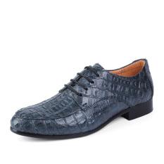 Pria Kulit Asli Sepatu Formal Dress Shoes Crocodile Pola Kantor Bisnis Sepatu Sepatu Casual Men's Genuine Leather Shoes Blue