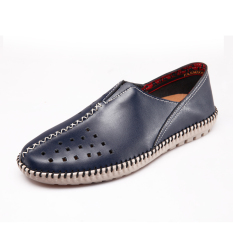Pria Mode Sneakers Kasual Sepatu Kulit Asli Sepatu Kulit Mengemudi Sepatu Pantai Sepatu Olahraga Sepatu Berjalan Travelling Sepatu Fashion Sneakers Genuine Leather Shoes Blue