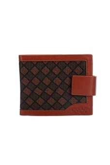 PU Leather Plaid Wallet Male Bag Brand Men Wallets Handbag Purse (Coffee)