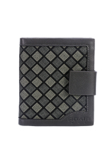 PU Leather Plaid Wallet Male Bag Brand Men Wallets Handbag Purse (Grey)