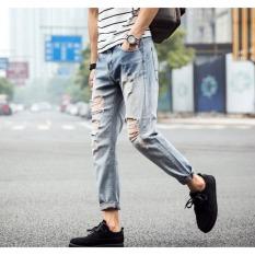 Pudding Men's Leisure Slim Hole Jeans Light Blue - Intl