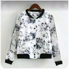 PusatFashion Jaket Casual wanita Motif Flower Babyterry - Putih