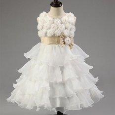 Putri Gadis Pesta Pernikahan Putri Bola Formal Gaun Bunga Rose Layer Tutu Dress(White) - intl