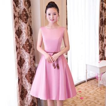 Qianyuangang Gaun Pengapit Wanita Pendek Fashion Pas Badan Banyak Model (Bagian B merah muda 522