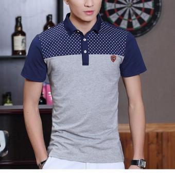 Quality Contrast Color Joint Fashion Wave Point Button Polo Tee Shirt (Grey)